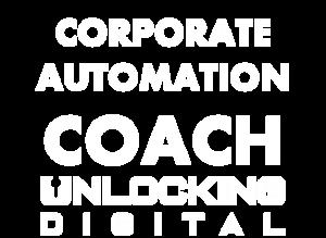 Je ziet hier een afbeelding met de woorden corporate automation coach